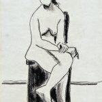 Mulher sentada, creiom sobre papel, 31 x 22 cm, 1974. Coleção Particular.
