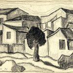Casario, giz de cera sobre papel, 25 x 35 cm, 1974. Coleção Particular.
