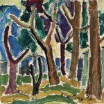 Árvores, óleo sobre tela, 30 x 30 cm, 1975. Coleção Particular.