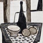 Natureza morta com garrafa preta, giz de cera e colagem sobre papel, 23 x 19 cm, 1973. Coleção Particular.