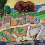 Paisagem com árvore vermelha, óleo sobre tela, 33 x 41 cm, 1974. Coleção Particular.