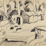 Paisagem com guindaste, grafite sobre papel, 25 x 35 cm, 1975. Coleção Particular.