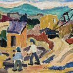 Paisagem com guindaste, óleo sobre tela, 30 x 40 cm, 1975. Coleção Particular.