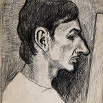 Perfil de Silvio Bicho, creiom sobre papel, 45 x 35 cm, 1977. Coleção Particular.