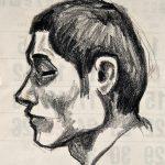 Retrato de Saulo, giz de cera sobre papel, 21 x 18 cm, 1976. Coleção Particular.