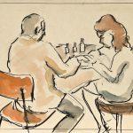 Manicure, aquarela sobre papel, 20 x 30 cm, 1965. Coleção Particular
