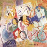 As Acrobatas, vinílica sobre tela, 114 x 146 cm, 1987. Coleção Particular.Particular.