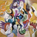 Dia de ensaio , acrílica sobre tela, 90 x 110 cm, 1996 / 2002. Coleção de Vera e Nelson Prandini.