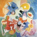Equilibristas I, vinílica sobre tela, 130 x 130 cm, 1987. Coleção Particular.