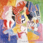 Equilibristas II, vinílica sobre tela, 130 x 130 cm, 1987. Coleção Particular.