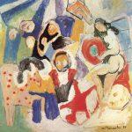 Os Trapezistas I, vinílica sobre tela, 130 x 130 cm, 1987. Coleção Particular.