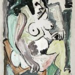 Mulher sentada, óleo sobre tela, 70 x 50 cm, 1977. Coleção Espaço Arte.