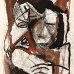 Casal, creiom e aquarela sobre papel, 30 x 20 cm, 1977. Coleção Particular.