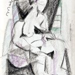 Mulher sentada, giz de cera sobre papel, 50 x 35 cm, 1981. Coleção Particular.