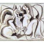 XVIII - O Lobisomem e a Donzela, acrílica sobre tela, 30 x 40 cm, 2019.