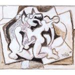 XX - O Lobisomem e a Donzela, acrílica sobre tela, 30 x 40 cm, 2019.