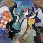 O Lobisomem e a Donzela, acrílica sobre tela, 80 x 120 cm, 1997 / 2007. Coleção Particular.