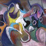 O Lobisomem e a Donzela, acrílica sobre tela, 65 x 115 cm, 2007 / 2008. Coleção Particular.