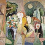 A Florista, vinílica sobre tela, 80 x 100 cm, 1984. Coleção Vera e Nelson Prandini.