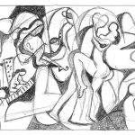 Tango, esferográfica sobre papel, 15 x 23 cm, 2005. Coleção Particular.