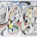 Tango, giz de cera sobre papel, 24,5 x 35 cm, 2005. Coleção Particular.
