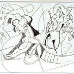 Tango, esferográfica sobre papel, 24,5 x 35 cm, 2005. Coleção Particular.
